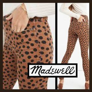 """MADEWELL 10"""" HIGH RISE LEOPARD DOT SKINNY JEANS"""